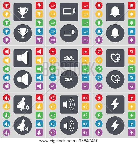 Cup, Laptop, Notification, Sound, Swimmer, Heart, Bell, Flash Icon Symbol. A Large Set Of Flat, Colo