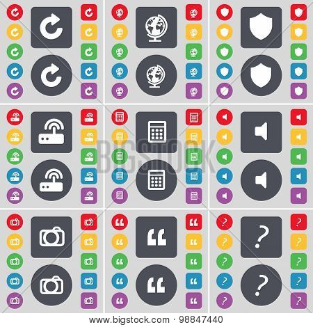 Reload, Globe, Shield, Router, Calculator, Sound, Camera, Quotation, Question Icon Symbol. A Large S
