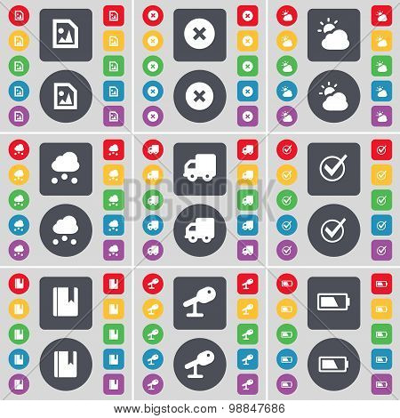 Media File, Stop, Weather, Cloud, Truck, Tick, Dictionary, Microphone, Battery Icon Symbol. A Large