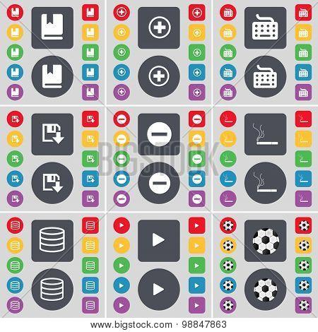 Dictionary, Plus, Keyboard, Floppy, Minus, Cigarette, Database, Play, Ball Icon Symbol. A Large Set