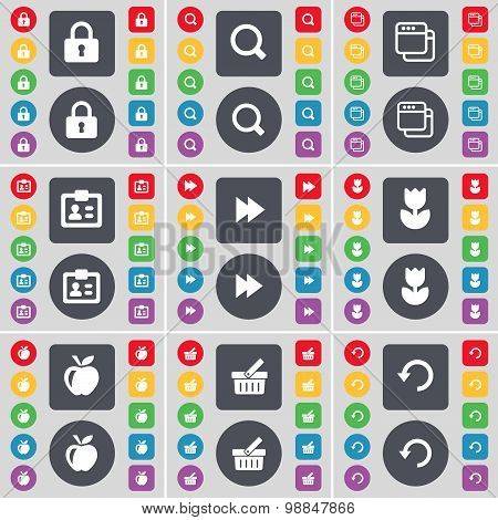 Lock, Magnifying Glass, Windows, Contact, Rewind, Flower, Apple, Basket, Reload Icon Symbol. A Large