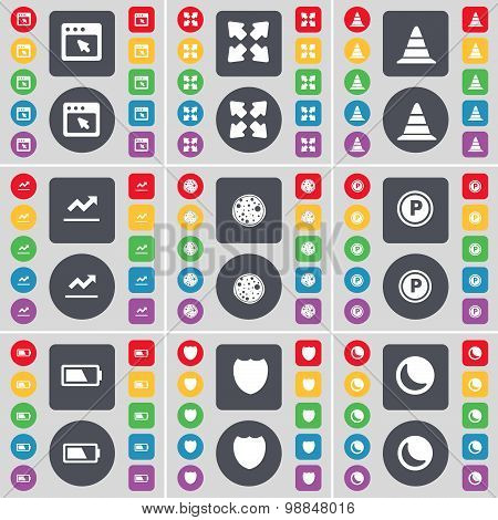 Window, Full Screen, Cone, Graph, Pizza, Parking, Battery, Badge, Moon Icon Symbol. A Large Set Of F