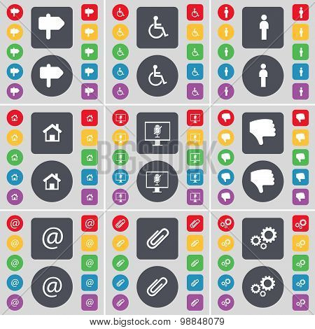 Signpost, Disabled Person, Silhouette, House, Monitor, Dislike, Mail, Clip, Gear Icon Symbol. A Larg