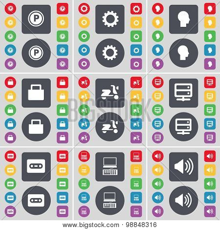Parking, Gear, Silhouette, Lock, Scooter, Server, Cassette, Laptop, Sound Icon Symbol. A Large Set O