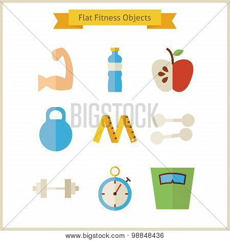 Flat Fitness And Dieting Objects Set