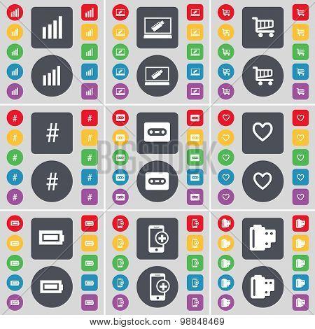 Diagram, Laptop, Shopping Cart, Hashtag, Cassette, Heart, Battery, Smartphone, Negative Films Icon S