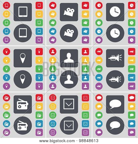 Tablet Pc, Film Camera, Clock, Checkpoint, Avatar, Trumped, Radio, Arrow Down, Chat Bubble Icon Symb