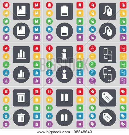 Dictionary, Battery Low, Mouse, Diagram, Information, Exchange, Trash Can, Pause, Tag Icon Symbol. A
