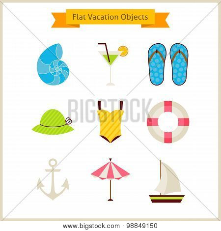 Flat Summer Vacation Objects Set