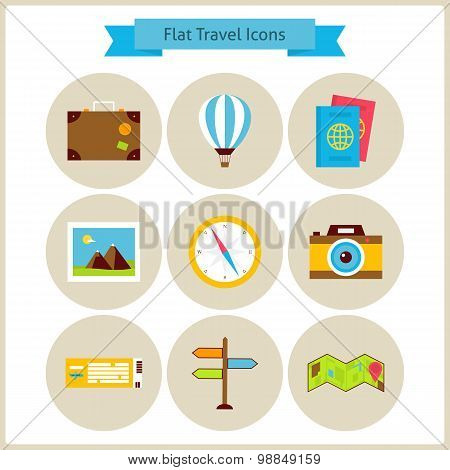Flat Travel And Vacation Icons Set