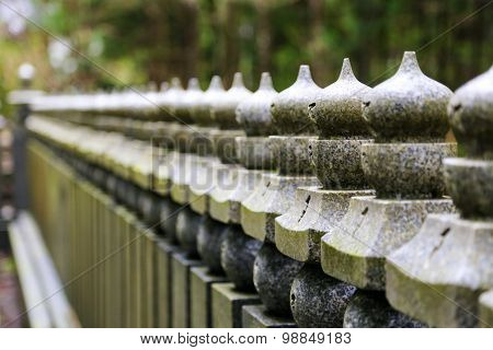 Japanese Stone Fence From Right To Left