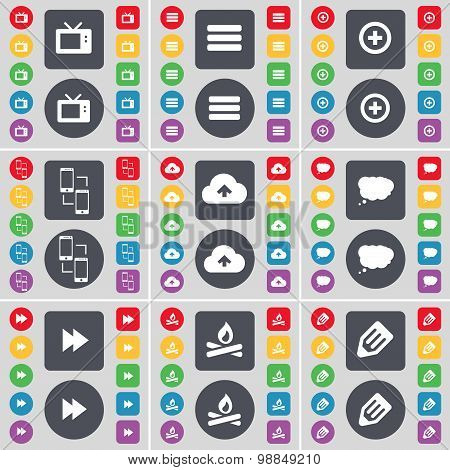 Retro Tv, Apps, Plus, Information Exchange, Cloud, Chat Cloud, Rewind, Campfire, Pencil Icon Symbol.