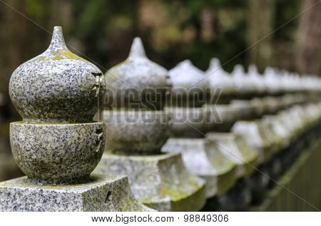 Japanese Stone Fence From Left To Right