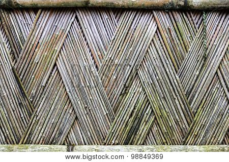 Bamboo Textured Fence With Crossed Pattern Of Dry Sticks