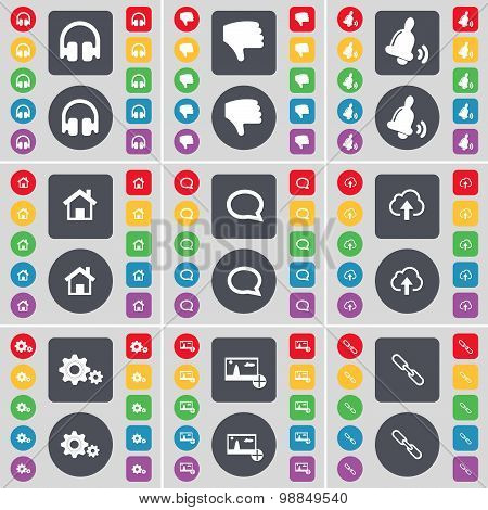 Headphones, Dislike, Bell, House, Chat Bubble, Cloud, Gears, Pictures, Link Icon Symbol. A Large Set