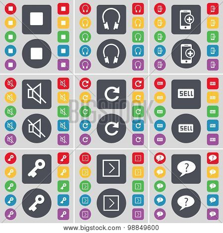 Media Stop, Headphones, Smartphones, Mute, Reload, Sell, Key, Arrow Right, Question Mark Icon Symbol