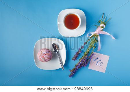 Colorful Muffin On Saucer. Note With  Message