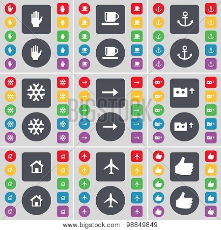 Hand, Cup, Anchor, Snowflake, Arrow Right, Cassette, House, Airplane, Like Icon Symbol. A Large Set
