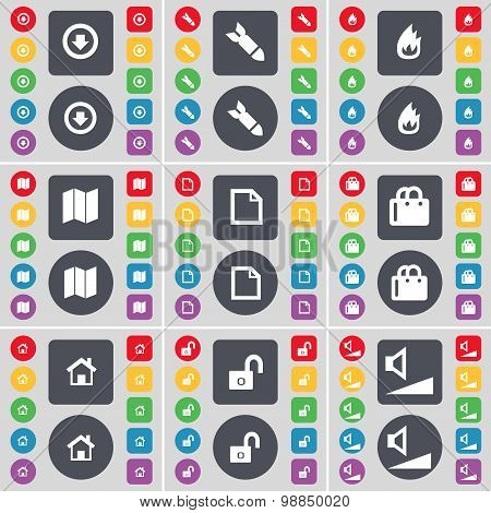 Arrow Down, Rocket, Fire, Map, File, Shopping Bag, House, Lock, Volume Icon Symbol. A Large Set Of F
