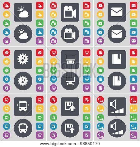 Cloud, Film Camera, Message, Gear, Monitor, Dictionary, Bus, Floppy, Video Icon Symbol. A Large Set