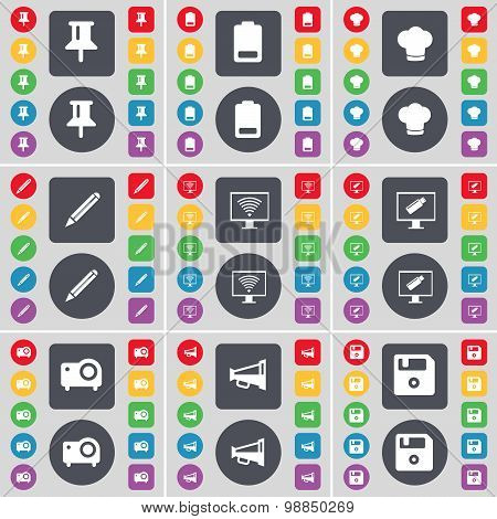 Pin, Battery, Cooking Hat, Pencil, Monitor, Projector, Megaphone, Floppy Icon Symbol. A Large Set Of