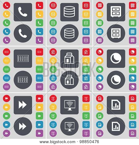 Receiver, Database, Bad-table, Equalizer, Packing, Moon, Rewind, Monitor, Graph File Icon Symbol. A