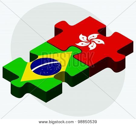 Brazil And Hong Kong Sar China Flags