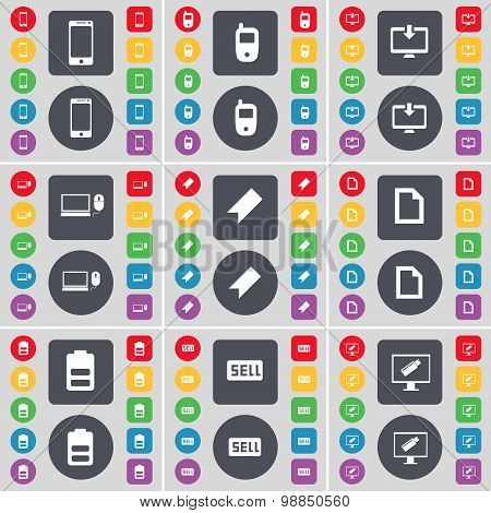 Smartphone, Mobile Phone, Monitor, Laptop, Marker, File, Battery, Sell Icon Symbol. A Large Set Of F