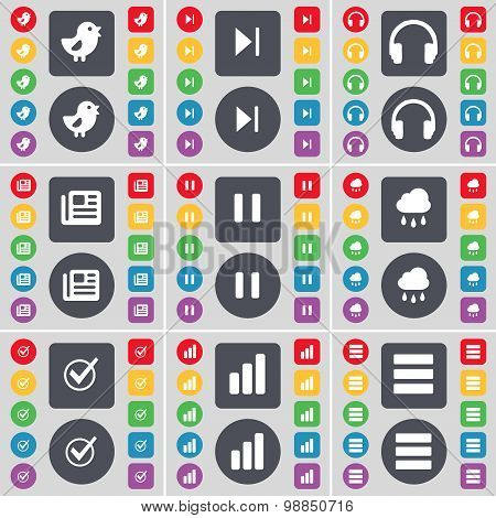 Bird, Media Skip, Headphones, Newspaper, Pause, Cloud, Tick, Diagram, Apps Icon Symbol. A Large Set