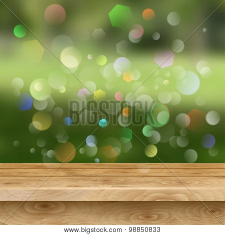 Empty Table Of Wooden Planks On Summer Background