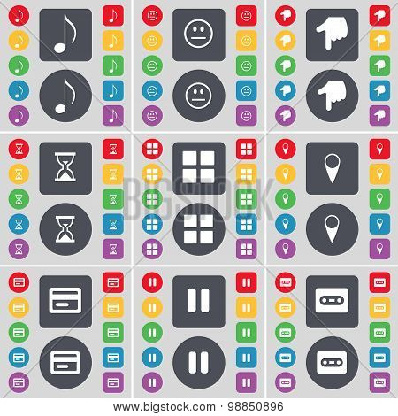 Note, Smile, Hand, Hourglass, Apps, Checkpoint, Credit Card, Pause, Cassette Icon Symbol. A Large Se