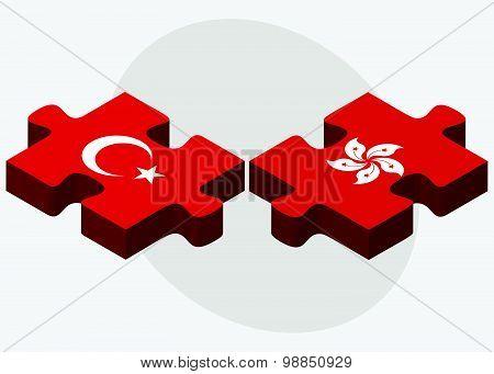 Turkey And Hong Kong Sar China Flags