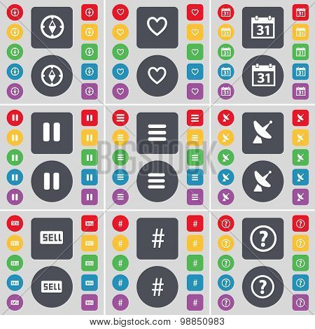 Compass, Heart, Calendar, Pause, Apps, Satellite Dish, Sell, Hashtag, Question Mark Icon Symbol. A L