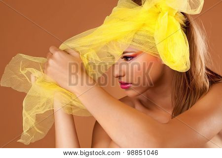 Beautiful Young Woman In The Studio, Wearing Colorful Make Up