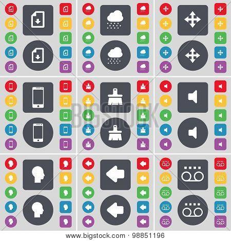 Download File, Cloud, Moving, Smartphone, Brush, Sound, Silhouette, Arrow Left, Cassette Icon Symbol