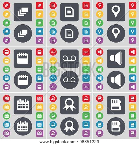 Gallery, Text File, Checkpoint, Calendar, Cassette, Sound, Medal, Sim Card Icon Symbol. A Large Set
