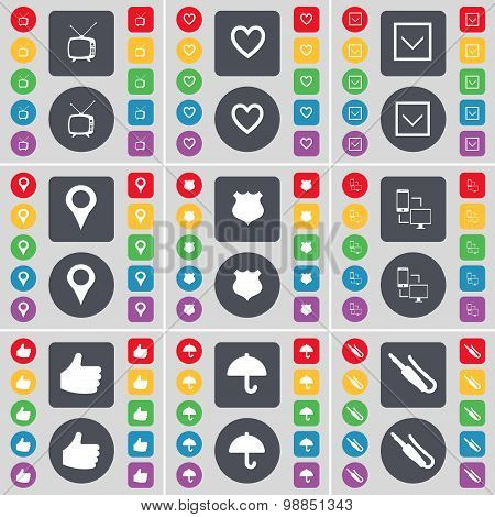 Retro Tv, Heart, Arrow Down, Checkpoint, Police Badge, Information Exchange, Like, Umbrella, Microph