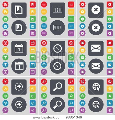 File, Equalizer, Stop, Calendar, Compass, Message, Back, Magnifying Glass, Web With Cursor Icon Symb