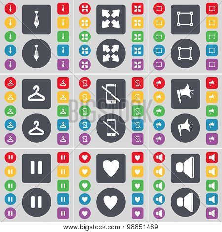 Tie, Full Screen, File, Hanger, Smartphone, Megaphone, Pause, Heart, Sound Icon Symbol. A Large Set