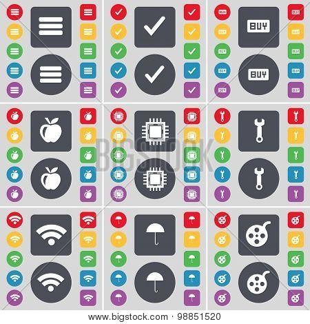 Apps, Tick, Buy, Apple, Processor, Wrench, Wi-fi, Umbrella, Videotape Icon Symbol. A Large Set Of Fl