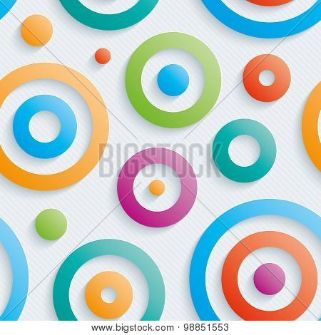 Colorful circles walpaper. 3d seamless background. Vector EPS10.