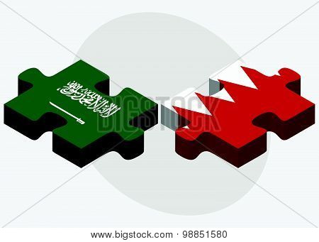 Saudi Arabia And Bahrain Flags