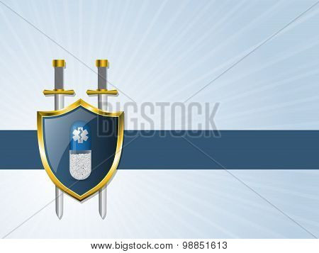 Medical Advertising Background With Bursting Shield And Place For Text