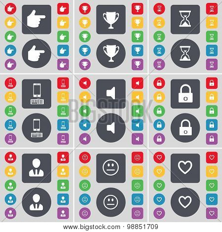 Hand, Cup, Hourglass, Smartphone, Sound, Lock, Avatar, Smile, Heart Icon Symbol. A Large Set Of Flat