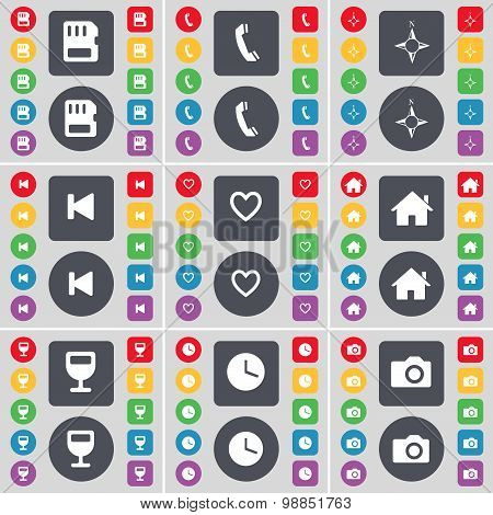 Sim Card, Receiver, Compass, Media Skip, Heart, House, Wineglass, Clock, Camera Icon Symbol. A Large