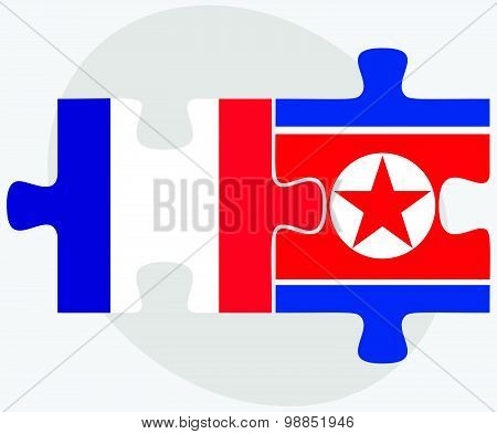 France And Korea-north Flags