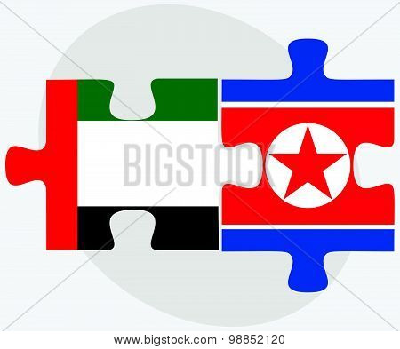 United Arab Emirates And Korea-north Flags