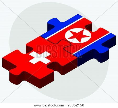 Switzerland And Korea-north Flags