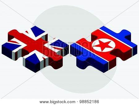 United Kingdom And Korea-north Flags