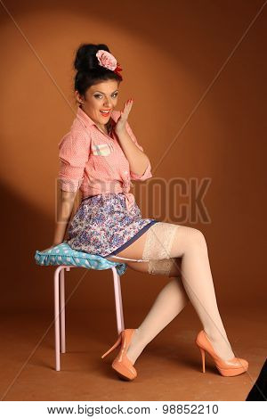 Pin Up Girl With Cake